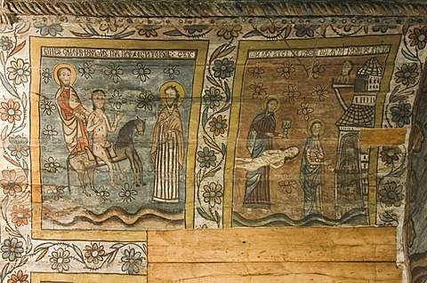Biblical scenes representing miracles, Wood Church of the Holy Archangels, Unesco World Heritage Site, Rogoz, Maramures, Romania