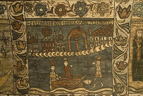 Biblical scenes of the ceiling, Wood Church of the Holy Paraskeva, Unesco World Heritage Site, Desesti, Maramures, Romania