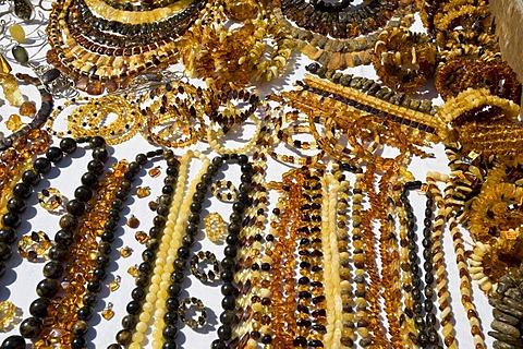Amber jewellery, souvenir stand, Riga, Latvia, Baltic States