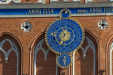 Clock on the House of the Blackheads, Riga, Latvia, Baltic States