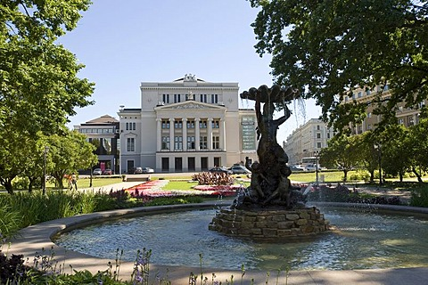 Latvian National Opera House behind a fountain in the city park, Riga, Latvia, Baltic States, PublicGround