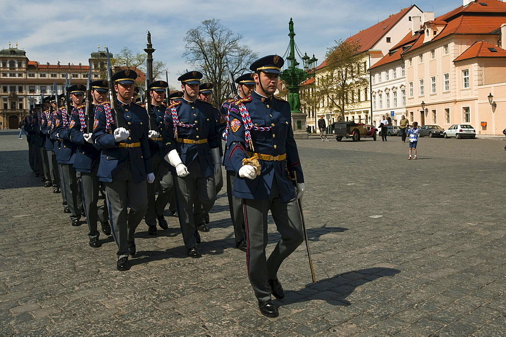 Changing of the Guards at Hradcany Square, Prague, Czech Republic, Europe