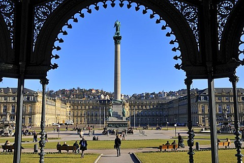 View from the music-pavillion on the castle square and New Castle, Stuttgart, Baden-Wuerttemberg, Germany