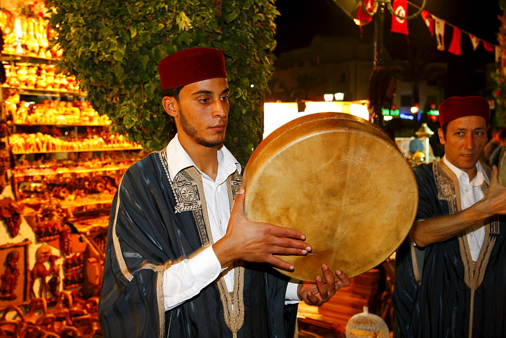 Musicians with Bendir, frame drum, Sufi brotherhood, religious ceremony, Hammamet, Tunisia, Northern Africa