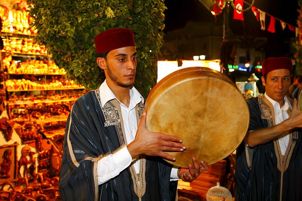 Musicians with Bendir, frame drum, Sufi brotherhood, religious ceremony, Hammamet, Tunisia, Northern Africa