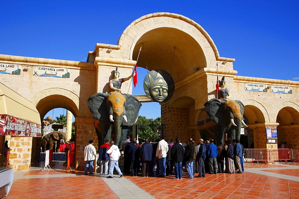 Entrance to Carthageland, Yasmine Hammamet, Hammamet, Tunisia, Northern Africa