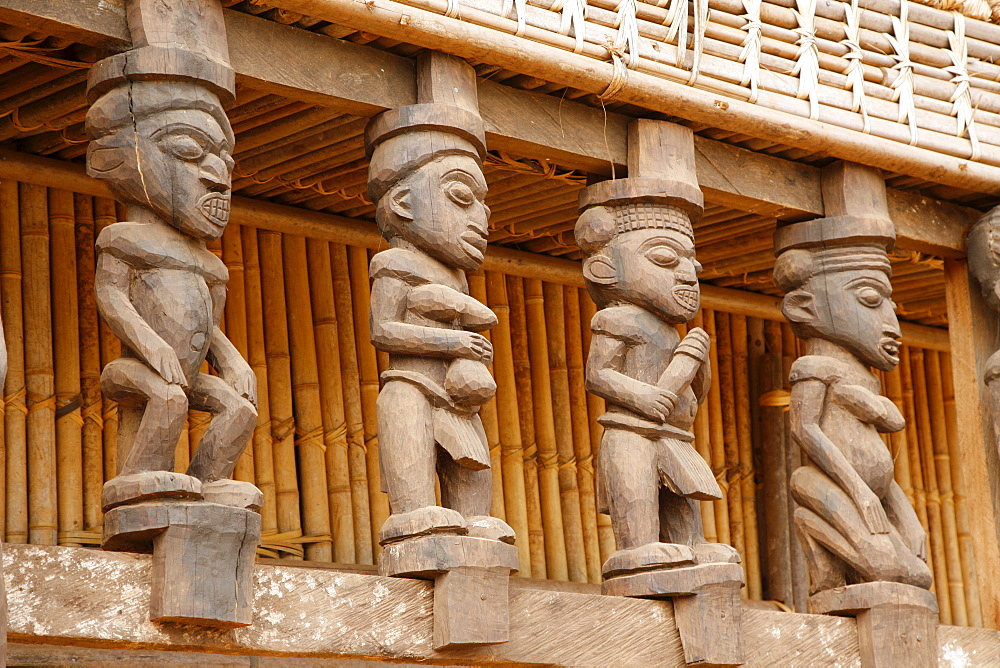 Wooden columns in the Tam-Tam House, Foumban, Cameroon, Africa