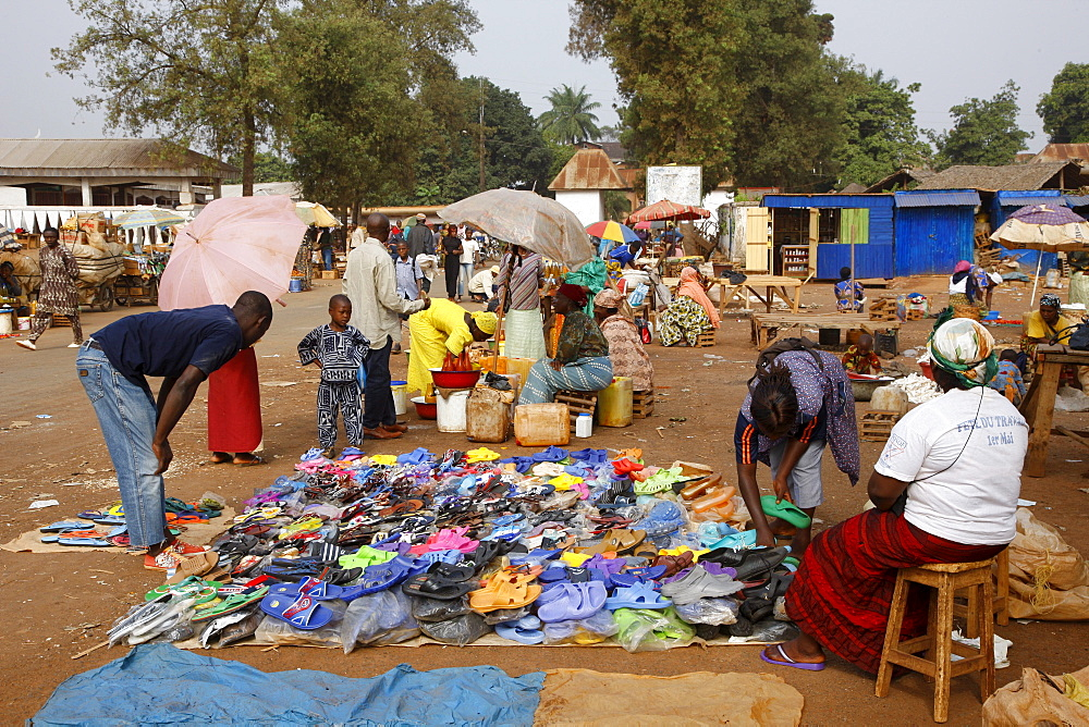 Market in front of the Sultan's Palace, Foumban, Cameroon, Africa