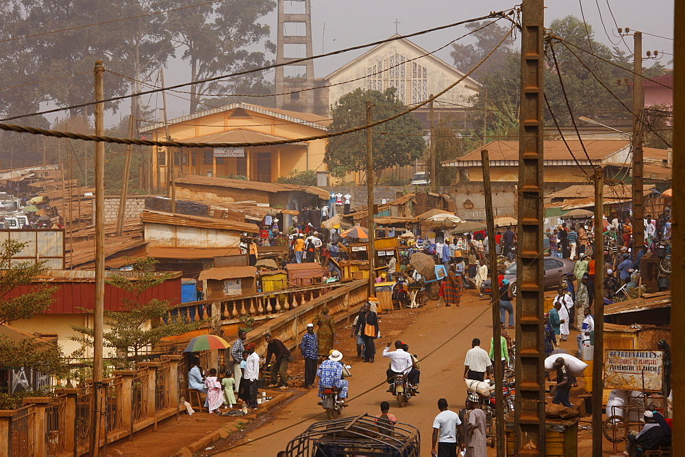 View of the street in front of the cathedral, city view, Bafoussam, Cameroon, Africa