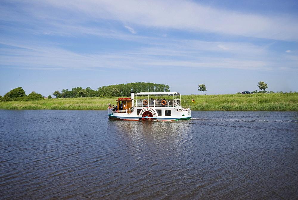 Paddle steamer Concordia II on Harle River, Carolinensiel, East Frisia, Lower Saxony, Germany, Europe