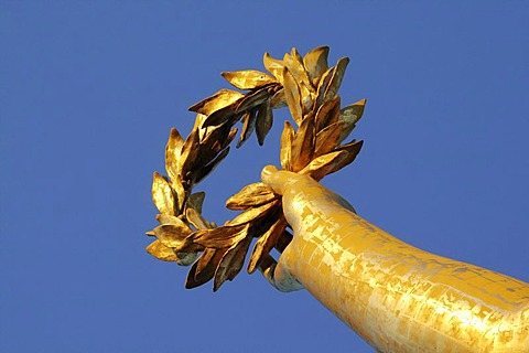 Hand with a bay wreath, statue of Victoria on Siegessaeule, Berlin Victory Column, Berlin, Germany, Europe
