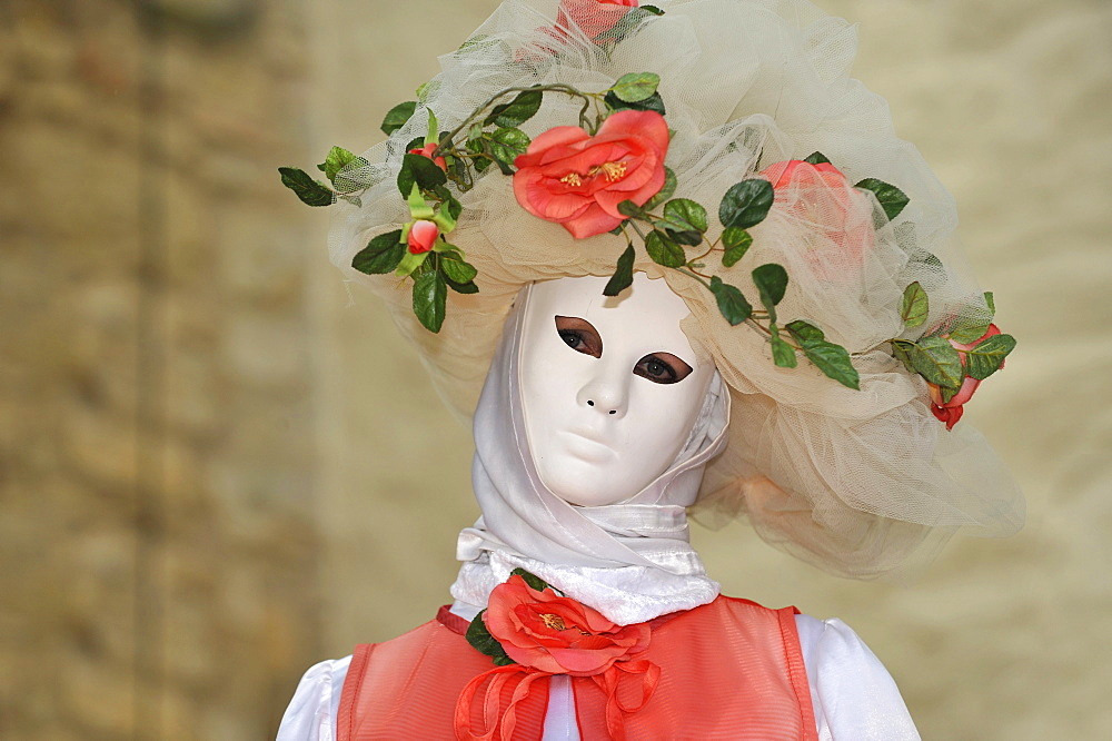 "Life in the Baroque period of the 18th Century, Venetian mask ""Rose"", Schiller Jahrhundertfest century festival, Marbach am Neckar, Baden-Wuerttemberg, Germany, Europe"