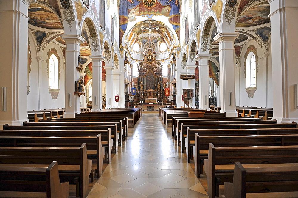Gothic, Baroque style, city parish church, Simultaneum, St. Martin, Biberach an der Riss, Baden-Wuerttemberg, Germany, Europe