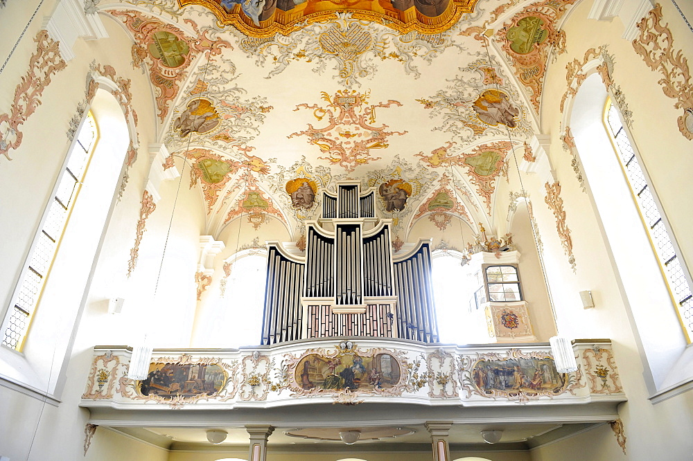 Interior with organ and shot of the ceiling fresco in the nave, Augustinuskirche St. Augustine Lutheran church, Schwaebisch Gmuend, Baden-Wuerttemberg, Germany, Europe
