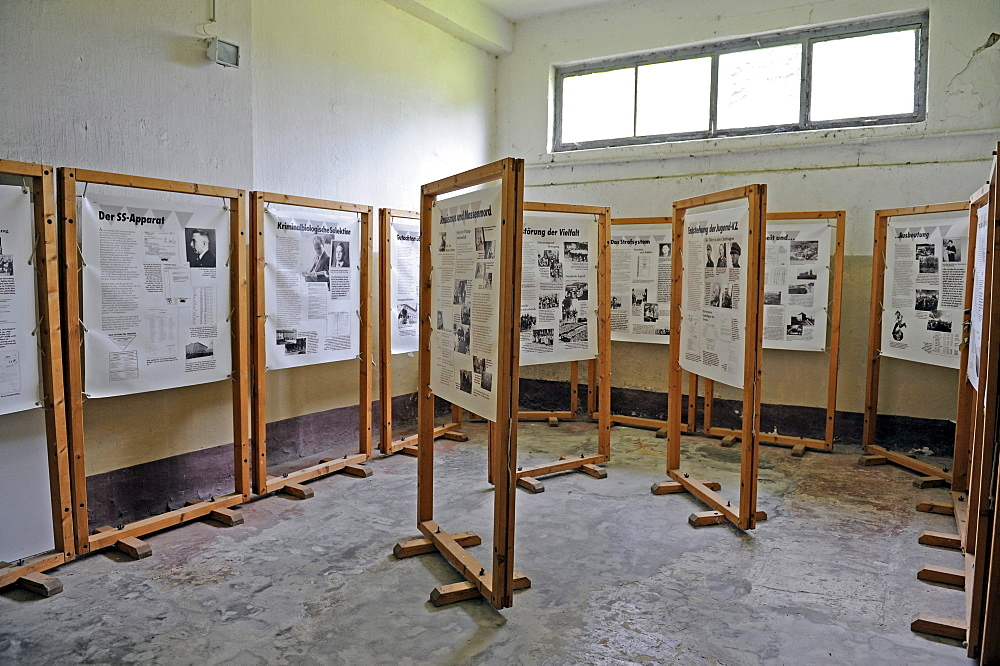 Exhibition in the former waterworks of the women's concentration camp Ravensbrueck, Brandenburg, Germany, Europe