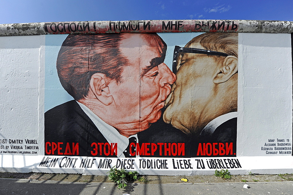 """Part of the """"East Side Gallery"""", piece of the Berlin Wall painted after the Fall of the Berlin Wall, Berlin, Germany, Europe"""