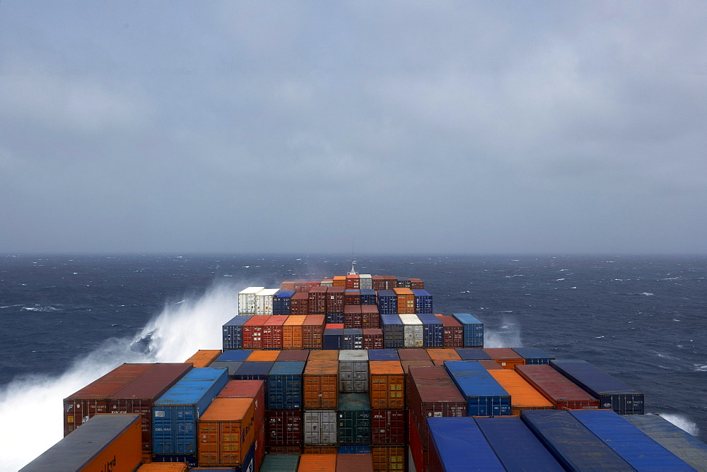 Container ship, sea, swell