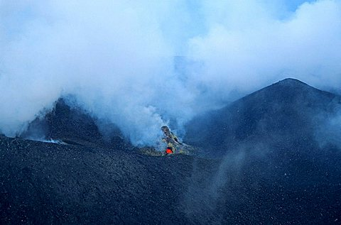 View of the active crater of the Stromboli vulcano, Aeolian Islands, Italy, Europe