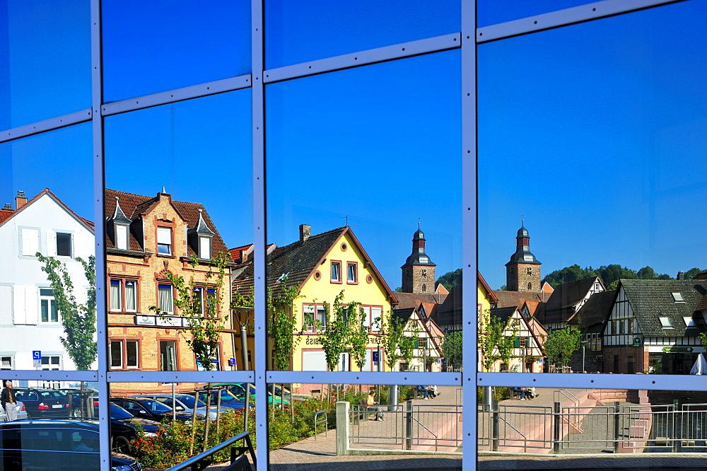 New town hall reflective facade, Annweiler, Naturpark Pfaelzerwald nature reserve, Palatinate, Rhineland-Palatinate, Germany, Europe