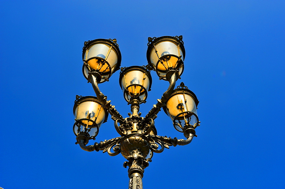 Six-armed gas streetlamp in front of the Kurhaus spa hotel, Baden-Baden, Black Forest, Baden-Wuerttemberg, Germany, Europe