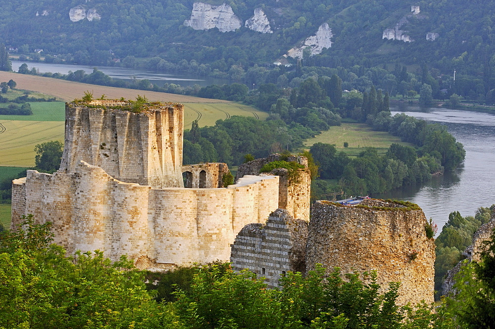 Meander of the Seine river and Galliard Castle, Chateau-Gaillard, Les Andelys, Seine valley, Normandy, France, Europe