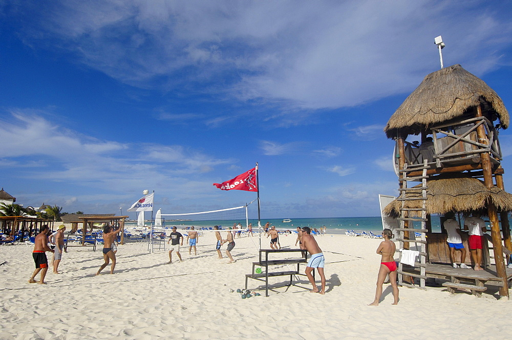People playing beach volleyball at Maroma beach, Caribe, Quintana Roo state, Mayan Riviera, Yucatan Peninsula, Mexico