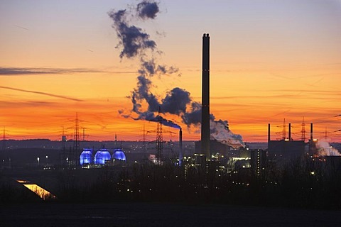 Industrial community, coking plant Prosper, Bottrop, Waste-to-energy-plant Essen-Karnap, RWE Power AG, Essen, Emscher sewage works Bottrop, Ruhr Area, North Rhine-Westphalia, Germany, Europe