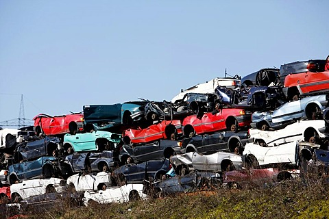Scrapped cars in a scrap yard, scrap dealer, waste dump, Bottrop, Ruhr Area, North Rhine-Westphalia, Germany, Europe