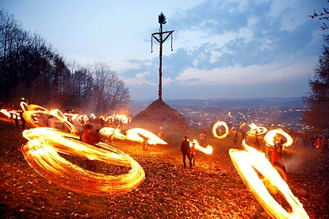 Traditional Easter fire on 7 hills around Attendorn, Sauerland, North Rhine-Westphalia, Germany, Europe - 832-225666