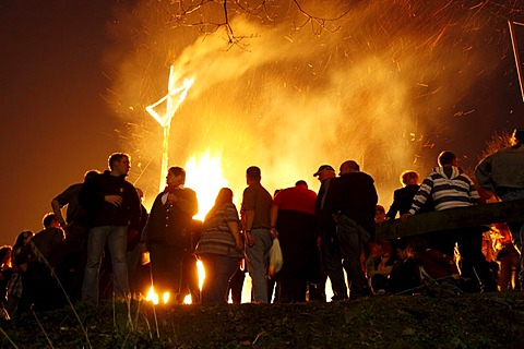 Traditional Easter Fire, bonfire, on seven hills around the city of Attendorn, Sauerland, North Rhine-Westphalia, Germany, Europe