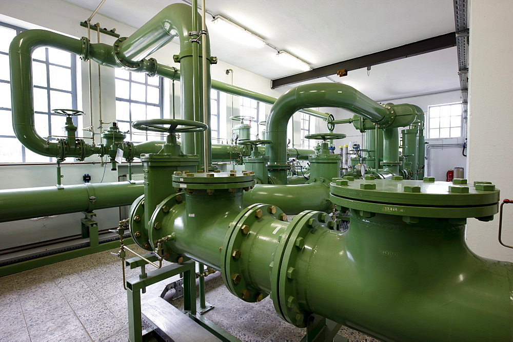 Natural gas transfer station, here natural gas is conducted from the high pressure gas pipeline and inducted into the main regional power supply, gas pressure control system of ELE, Emscher-Lippe-Energy, regional energy provider in the Ruhr Area, Gelsenki