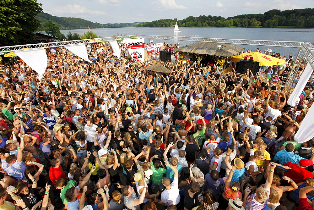 Sundance festival, dance party with techno and house music, in the Seaside Beach Club at Baldeneysee lake, Essen, Ruhrgebiet area, North Rhine-Westphalia, Germany, Europe