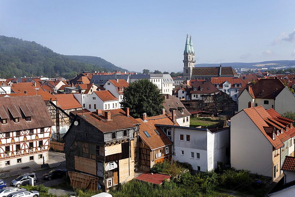 Overlooking the historic town of Meiningen, Rhoen, Thuringia, Germany, Europe