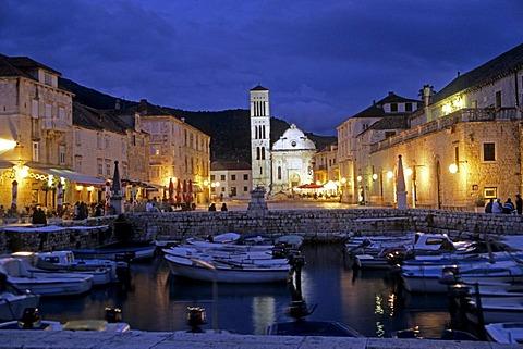 Harbor and cathedral at night, Hvar Island, Dalmatian Coast, Croatia