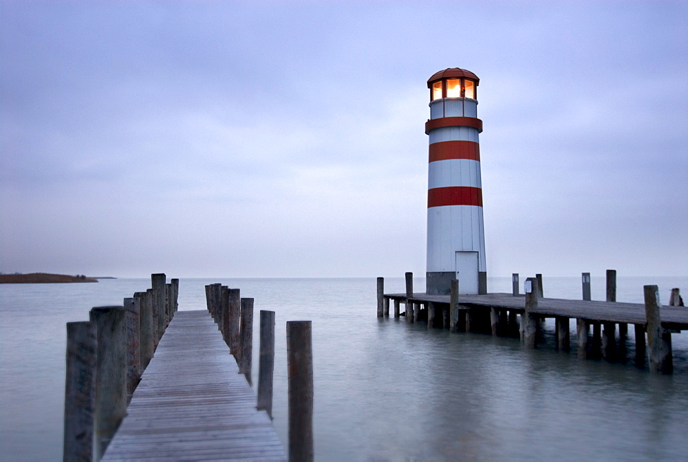 Lighthouse at Podersdorf am See, Lake Neusiedl, Neusiedlersee, Burgenland, Austria, Europe