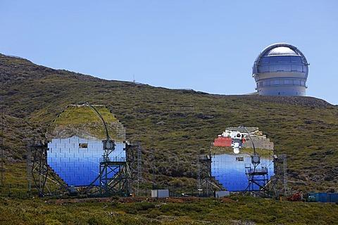 MAGIC-Telescope, Major Atmospheric Gamma-Ray Imaging Cherenkov Telescope, observatory on Roque de los Muchachos, La Palma, Canary Islands, Spain