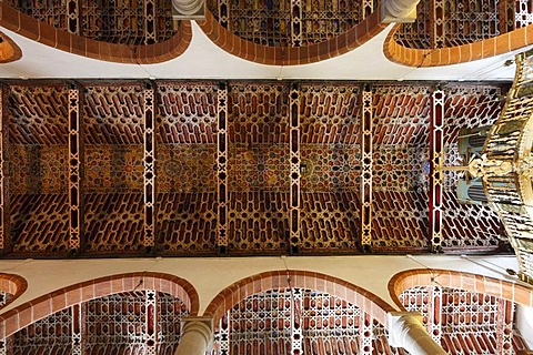 Mudejar ceiling in El Salvador church, Church of the Redeemer, Santa Cruz de la Palma, La Palma, Canary Islands, Spain