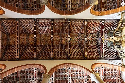 Mudejar ceiling in El Salvador church, Church of the Redeemer, Santa Cruz de la Palma, La Palma, Canary Islands, Spain