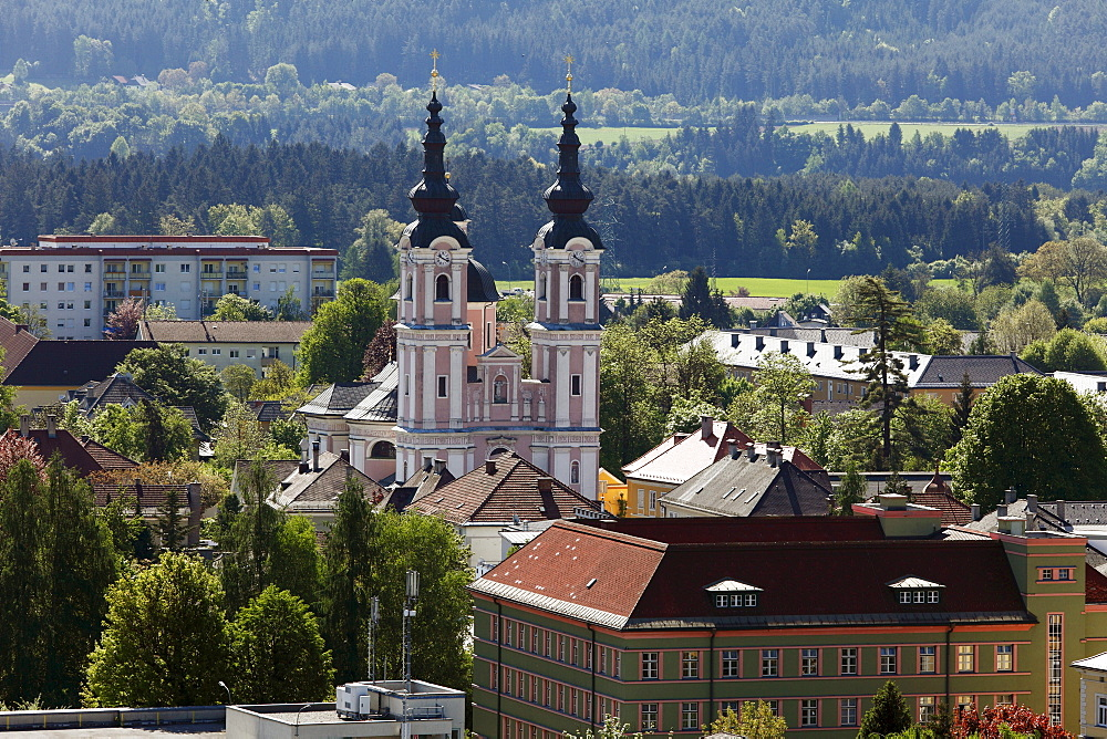 Pilgrimage church to the Holy Cross, view from the steeple of the parish church, Villach, Carinthia, Austria, Europe