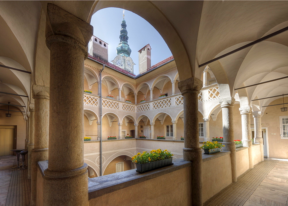 Renaissance arcade court, Old Town Hall, Klagenfurt, Carinthia, Austria, Europe