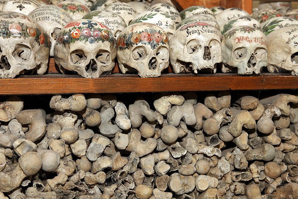 Skulls in the ossuary, Karner St. Michaelskapelle St. Michael Cchapel, Hallstatt, Salzkammergut region, Upper Austria, Austria, Europe