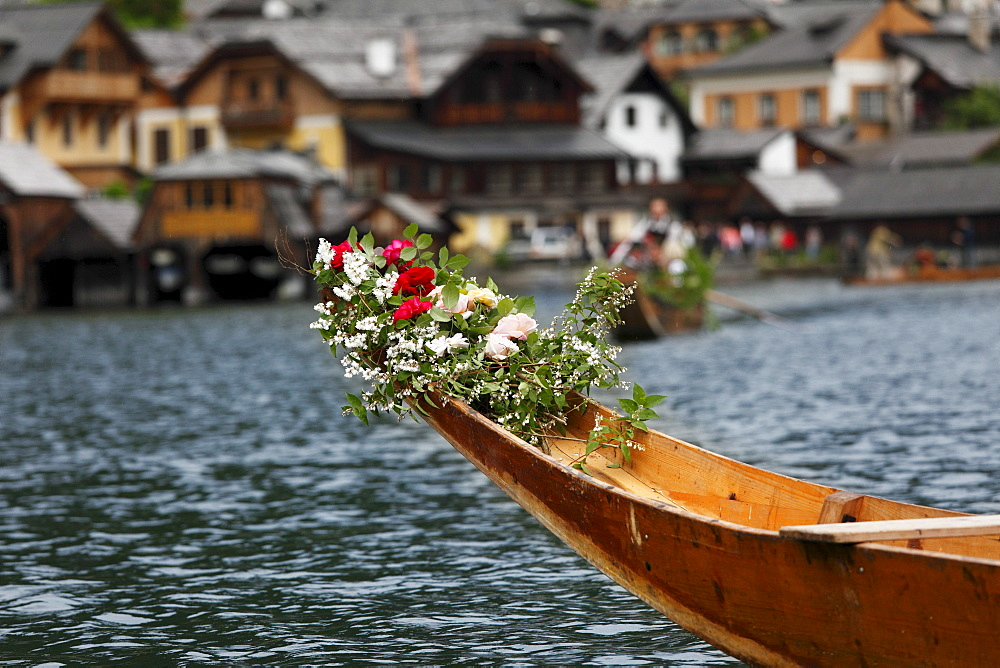 "Festively decorated ""Plaette"" boat, Corpus Christi maritime procession, Hallstatt, Hallstaetter See Lake, Salzkammergut region, Upper Austria, Austria, Europe"