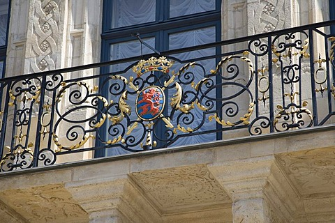 Coat of arms at the balcony of the Palais Grand Ducal, Luxembourg