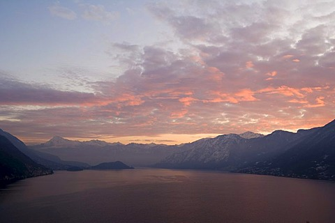 Morning view on lake Como from Via Schignano, Argegno on Lake Como, Lombardy, Italy, Europe