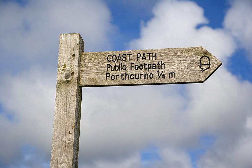 Signpost, Porthcurno, Cornwall, England, United Kingdom, Europe