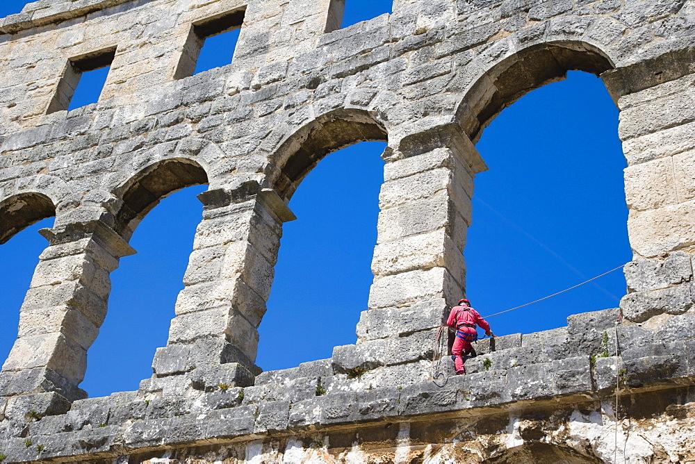 Maintenance of Pula Arena, Roman amphitheatre, Pula, Istria, Croatia, Europe