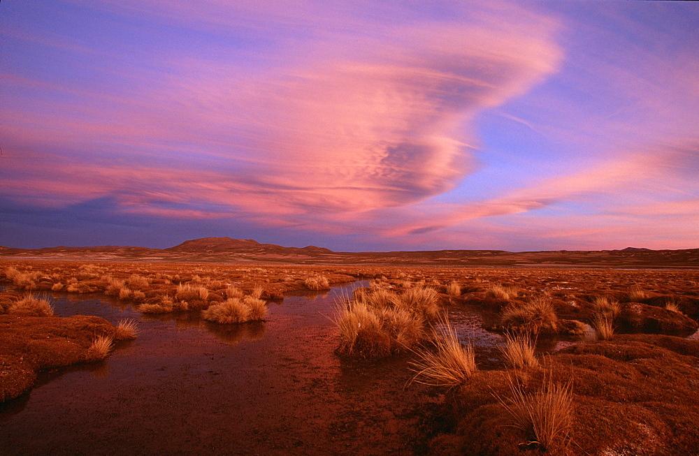 Sunset in the Altiplano, Oruro, Bolivia, South America