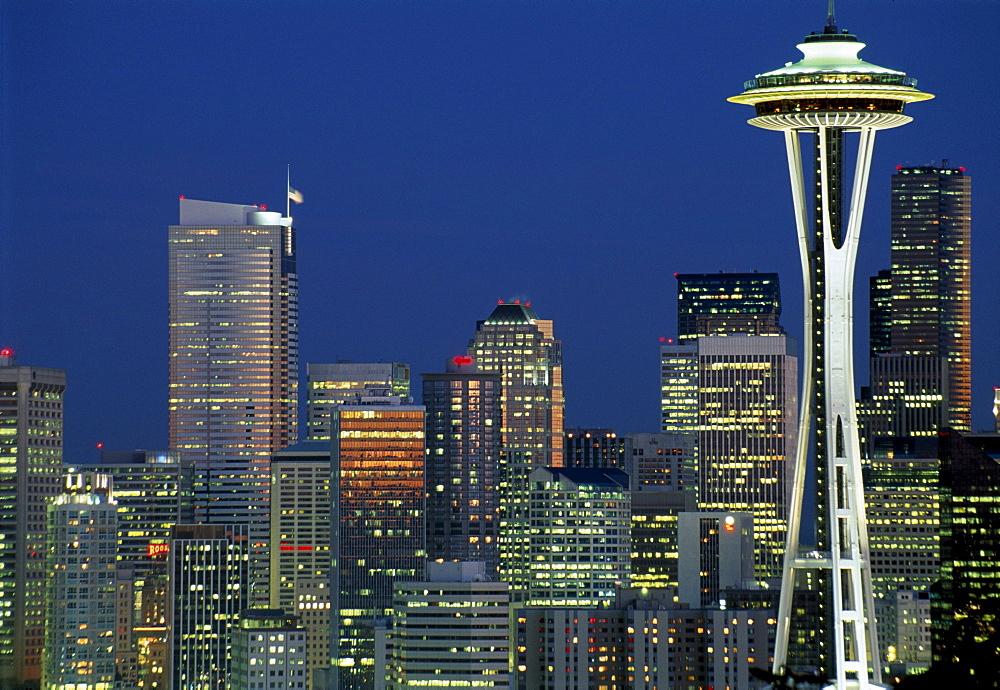 Skyline of Seattle, the Space Needle right, at night, Seattle, Washington, USA