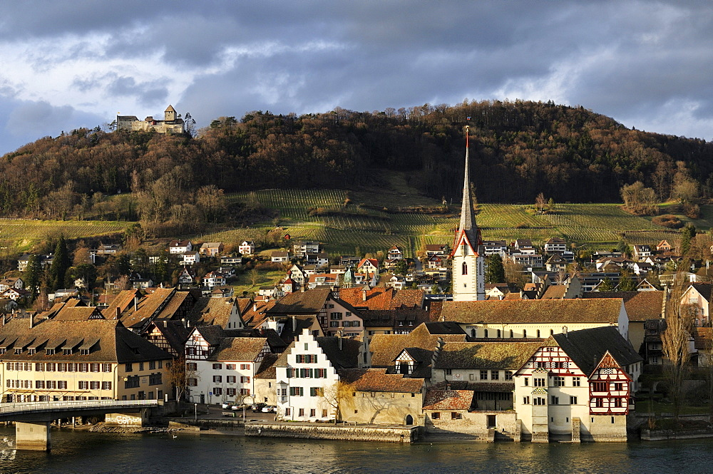 The historic city of Stein am Rhein with the castle Hohenklingen in the evening light, Canton Schaffhausen, Switzerland, Europe