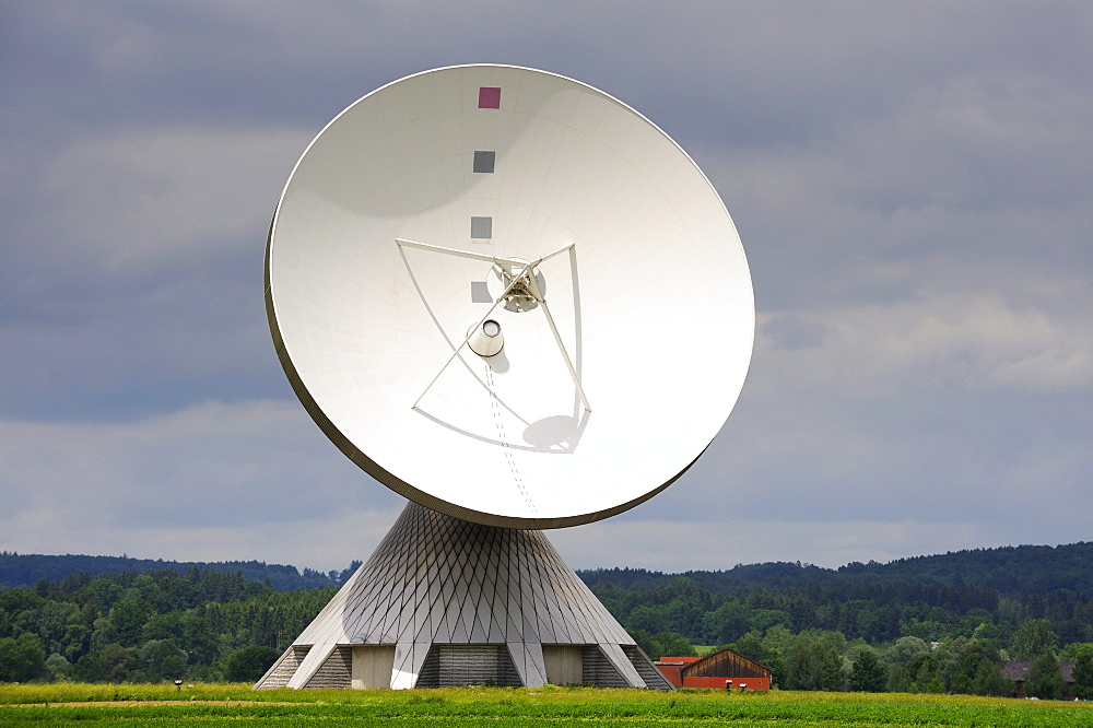Parabolic antenna at the Erdfunkstelle, station for radio, television and data communications, Raisting, district of Weilheim-Schongau, Bavaria, Germany, Europe